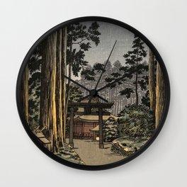 Tsuchiya Koitsu - Nikko Futarasan Temple - Japanese Vintage Woodblock Painting Wall Clock