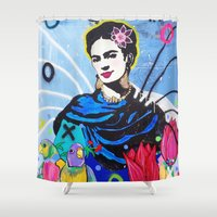 frida kahlo Shower Curtains featuring Frida Kahlo by Paola Gonzalez