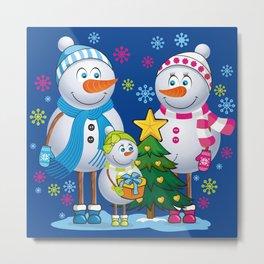 Family snowmans Metal Print