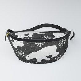 Polar Bears and Snowflakes - black Fanny Pack