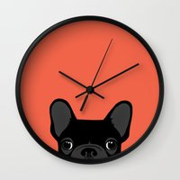 french bulldog Wall Clocks featuring French Bulldog by Anne Was Here