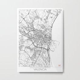 Valencia Map White Metal Print