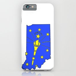 Indiana Map with Indiana State Flag iPhone Case