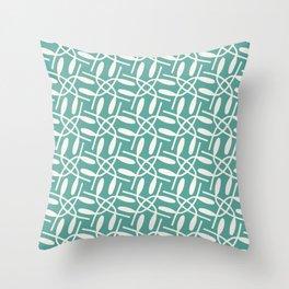 Banded Together - Geometric Aqua Throw Pillow