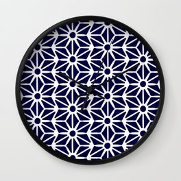 Asanoha Pattern - White on Navy Wall Clock