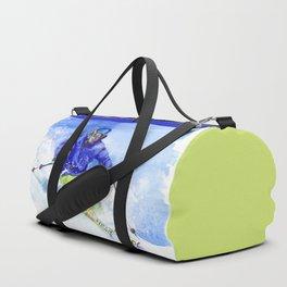 Watercolor skier, skiing illustration Duffle Bag