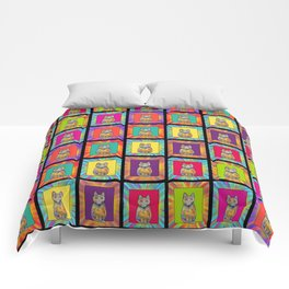 CHESSBOARD CUTE CAT CHECKERBOARD Comforters