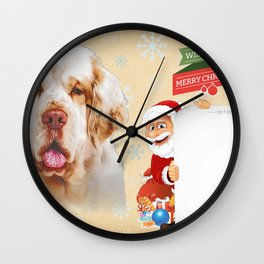 Clumber Spaniel Only Face Christmas dog lover gift Wall Clock