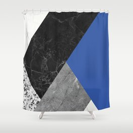 Black and White Marbles and Pantone Lapis Blue Color Shower Curtain