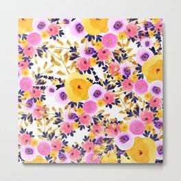 Pink purple lavender yellow hand painted watercolor floral Metal Print