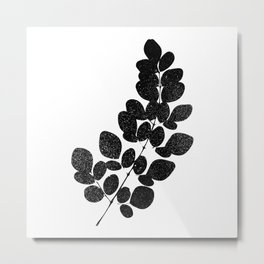 Moringa Leaf Silhouette Art Print Metal Print