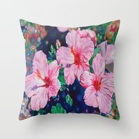 hibiscus Throw Pillows featuring Hibiscus by Morgan Ralston