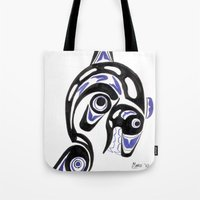 killer whale Tote Bags featuring Killer Whale Number 1 by The Marko