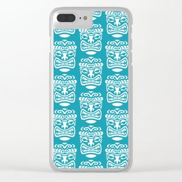 Tiki Pattern Turquoise Clear iPhone Case