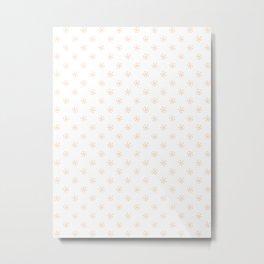 Deep Peach Orange on White Snowflakes Metal Print