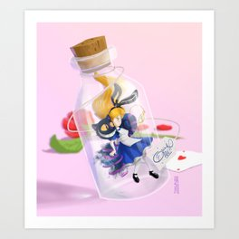 Alice in a bottle (drink me) Art Print