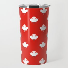 Large Reversed White Canadian Maple Leaf on Red Travel Mug