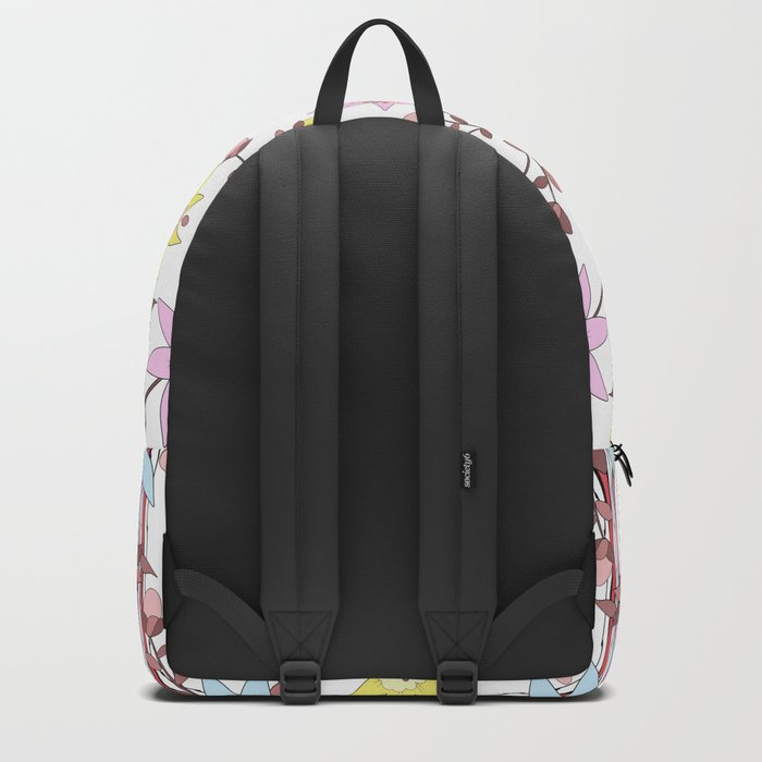 Cartoon flowers on striped background Backpack