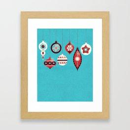 Retro Christmas Baubles Framed Art Print