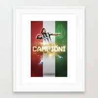 juventus Framed Art Prints featuring Juventus CAMPIONI by peteschwadel