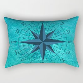 Compass on Turquoise Water Rectangular Pillow