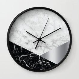 White Marble Black Granite & Silver #230 Wall Clock