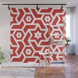 Tiled, Red and White Wall Mural