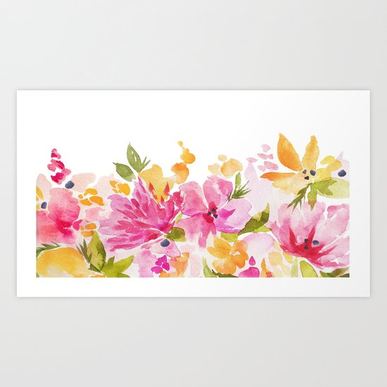 Warm Florals Art Print