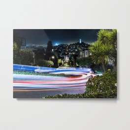 Light trail - Lombard Street - San Francisco Metal Print