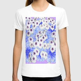 WHITE   FLORALS WITH BLUE FLOWERS T-shirt