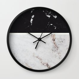 Black Marble & White Glitter Marble #1 #decor #art #society6 Wall Clock