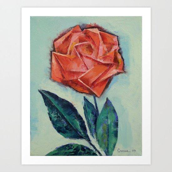 Origami Rose Art Print