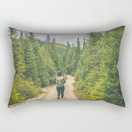 Hiking trail woman in the woods Rectangular Pillow