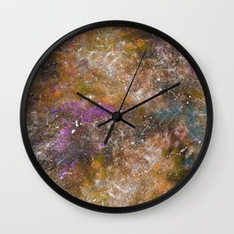 A galactic ocean -Orange- Cosmic Painting Art Wall Clock