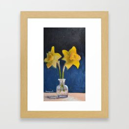 Two Daffodils Flower Still Life Painting Framed Art Print