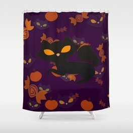 Time for cats on Halloween! Shower Curtain