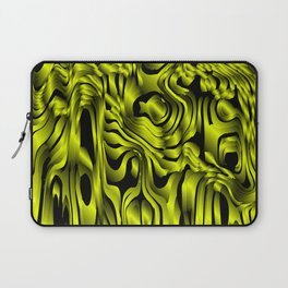 Magical flowing yellow avalanche of lines with dark. Laptop Sleeve