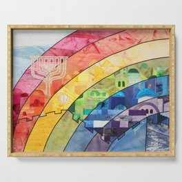 Rainbow over Jerusalem (2) Serving Tray