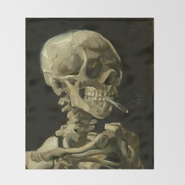 Skull of a Skeleton with Burning Cigarette by Vincent van Gogh Throw Blanket