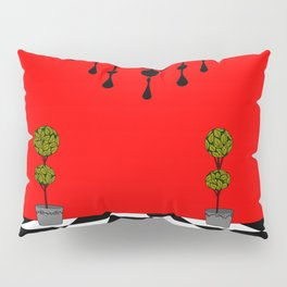 A Chandler with Topiary with Red wall paper Pillow Sham