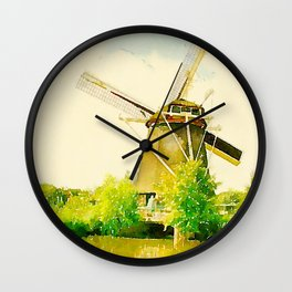 watercolor illustration amsterdam mill house Wall Clock