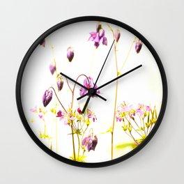 Purple Columbine By The Wall Wall Clock