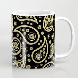 Paisley Funky Design Black and Gold Coffee Mug