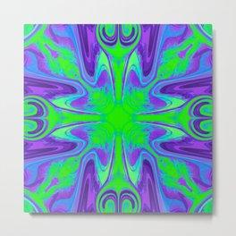 Groovy, Retro Purple and Green Swirls Design Metal Print