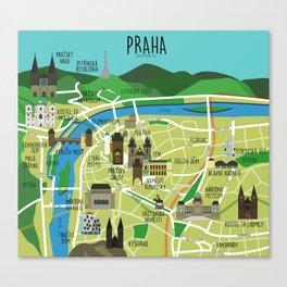 Prague map illustrated Canvas Print