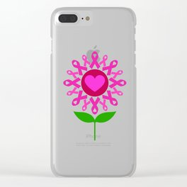 Cancer Ribbon Flower Breast Cancer Awareness Pink Ribbon Clear iPhone Case