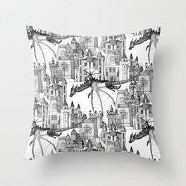 Dragon Kingdom Winter Toile Throw Pillow