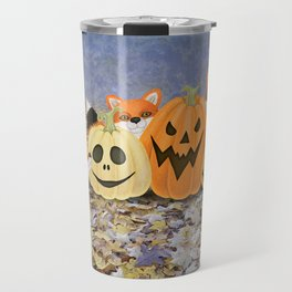 foxes, jack o'lanterns, and ghost clouds Travel Mug