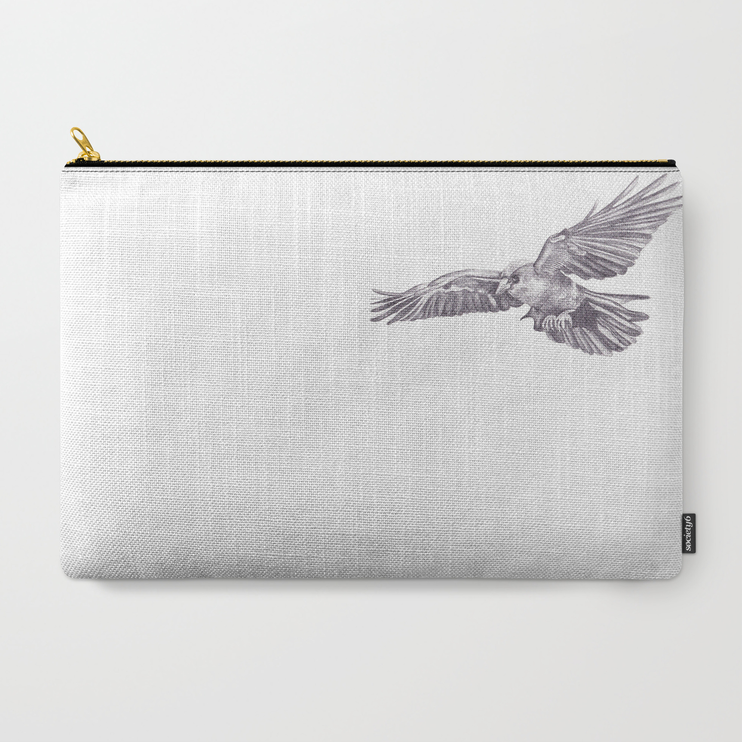 Pencil drawing crow carry all pouch