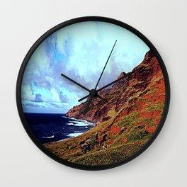 Red Hawaiian Mountain Wall Clock